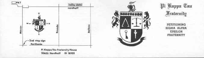 Pi kappa tau published a rush brochure each year the fraternity used folded business cards to give to people with the rush schedule and a map to the house colourmoves